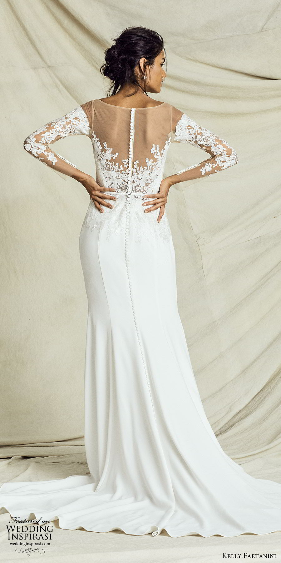 kelly faetanini fall 2019 bridal illusion long sleeves sweetheart neckline lace bodice sheath trumpet mermaid wedding dress chapel train elegant (4) bv