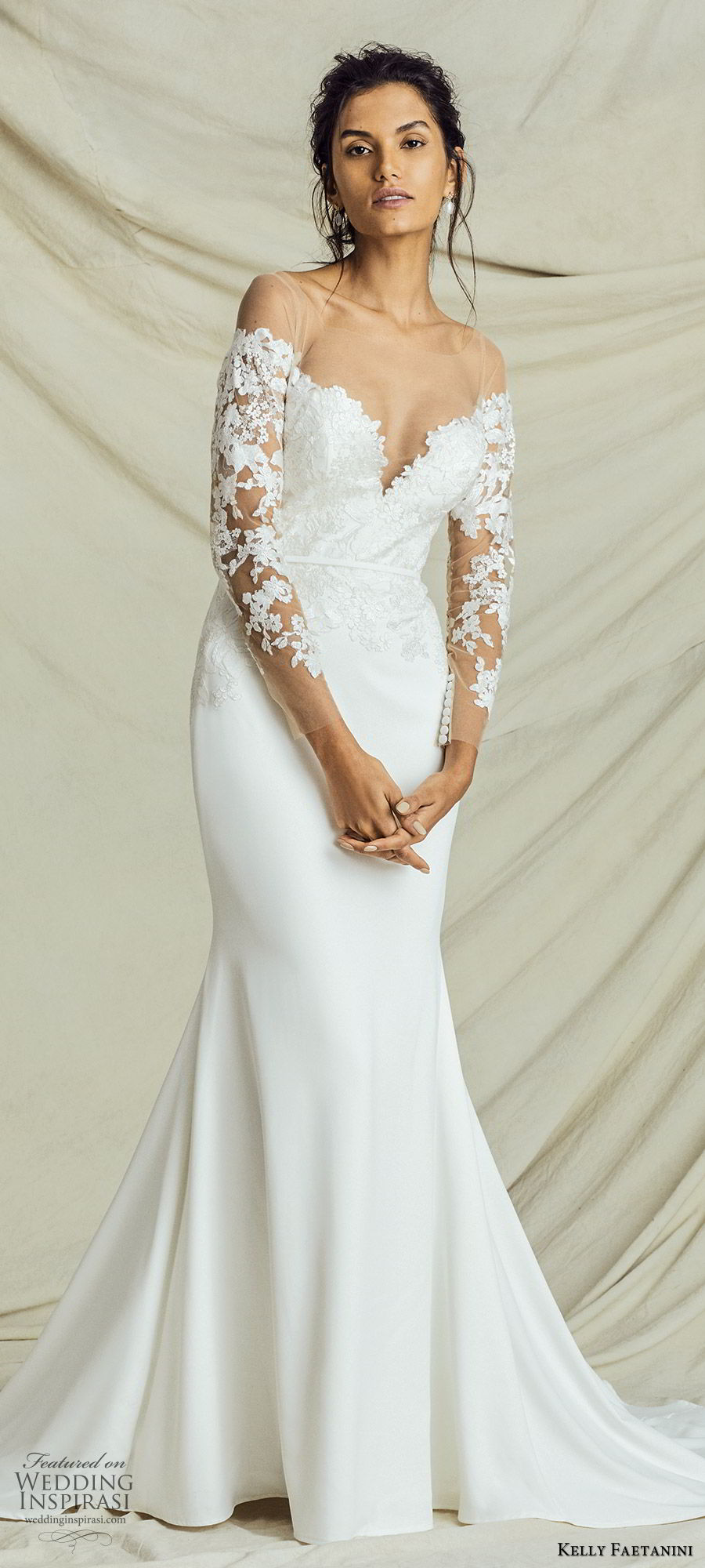 kelly faetanini fall 2019 bridal illusion long sleeves sweetheart neckline lace bodice sheath trumpet mermaid wedding dress chapel train elegant (4) mv