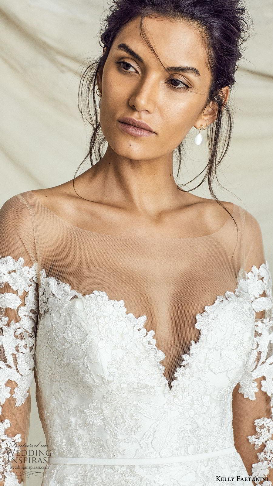 kelly faetanini fall 2019 bridal illusion long sleeves sweetheart neckline lace bodice sheath trumpet mermaid wedding dress chapel train elegant (4) zv