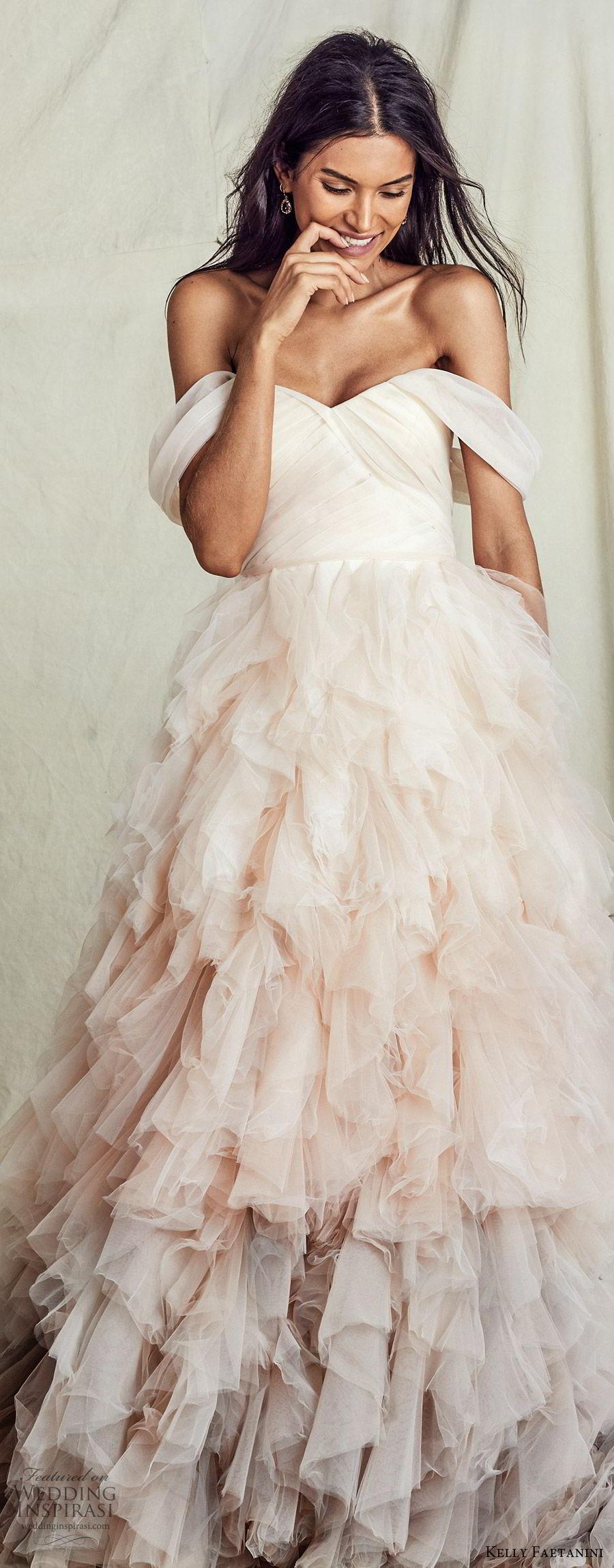 kelly faetanini fall 2019 bridal off shoulder semi sweetheart ruched bodice ball gown a line wedding dress ruffle skirt ombre blush chapel train romantic  (5) lv