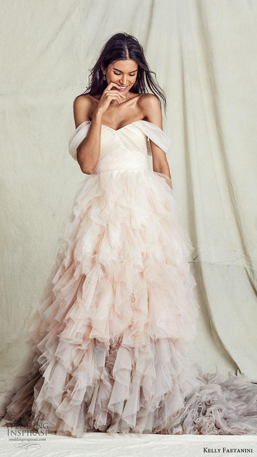 kelly faetanini fall 2019 bridal off shoulder semi sweetheart ruched bodice ball gown a line wedding dress ruffle skirt ombre blush chapel train romantic  (5) mv