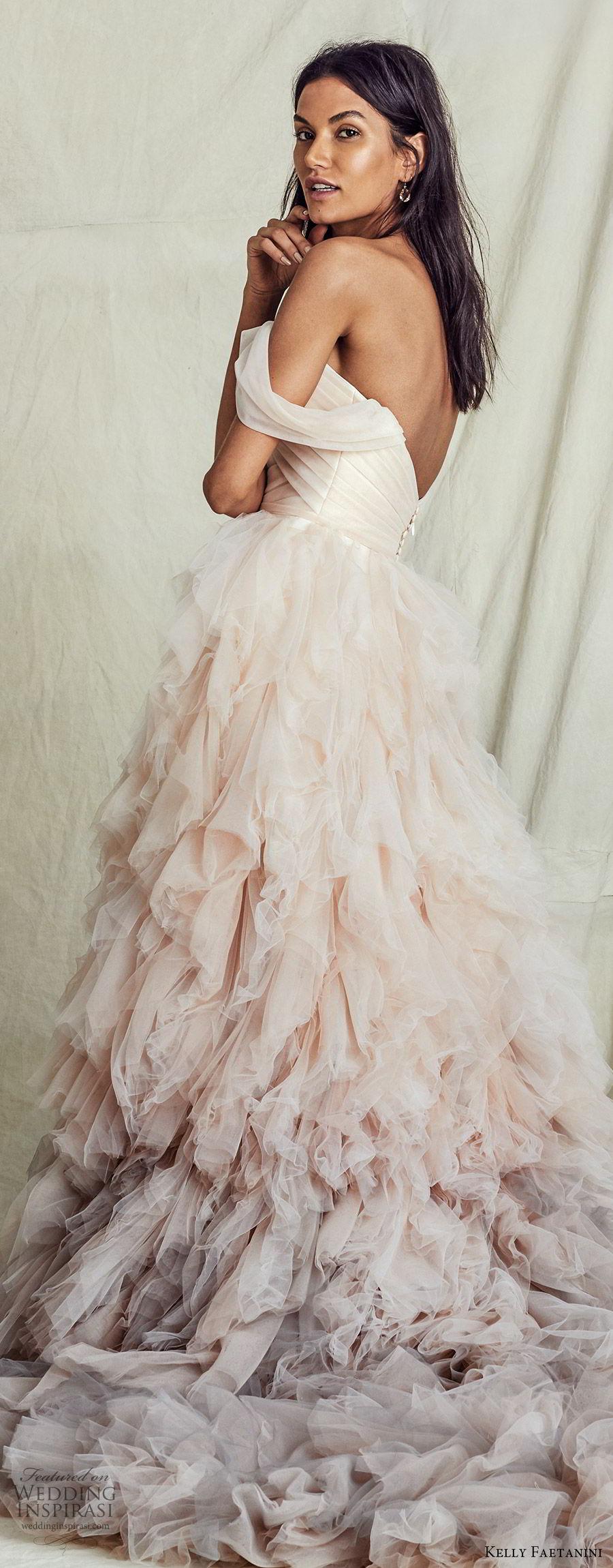 kelly faetanini fall 2019 bridal off shoulder semi sweetheart ruched bodice ball gown a line wedding dress ruffle skirt ombre blush chapel train romantic  (5) zbv