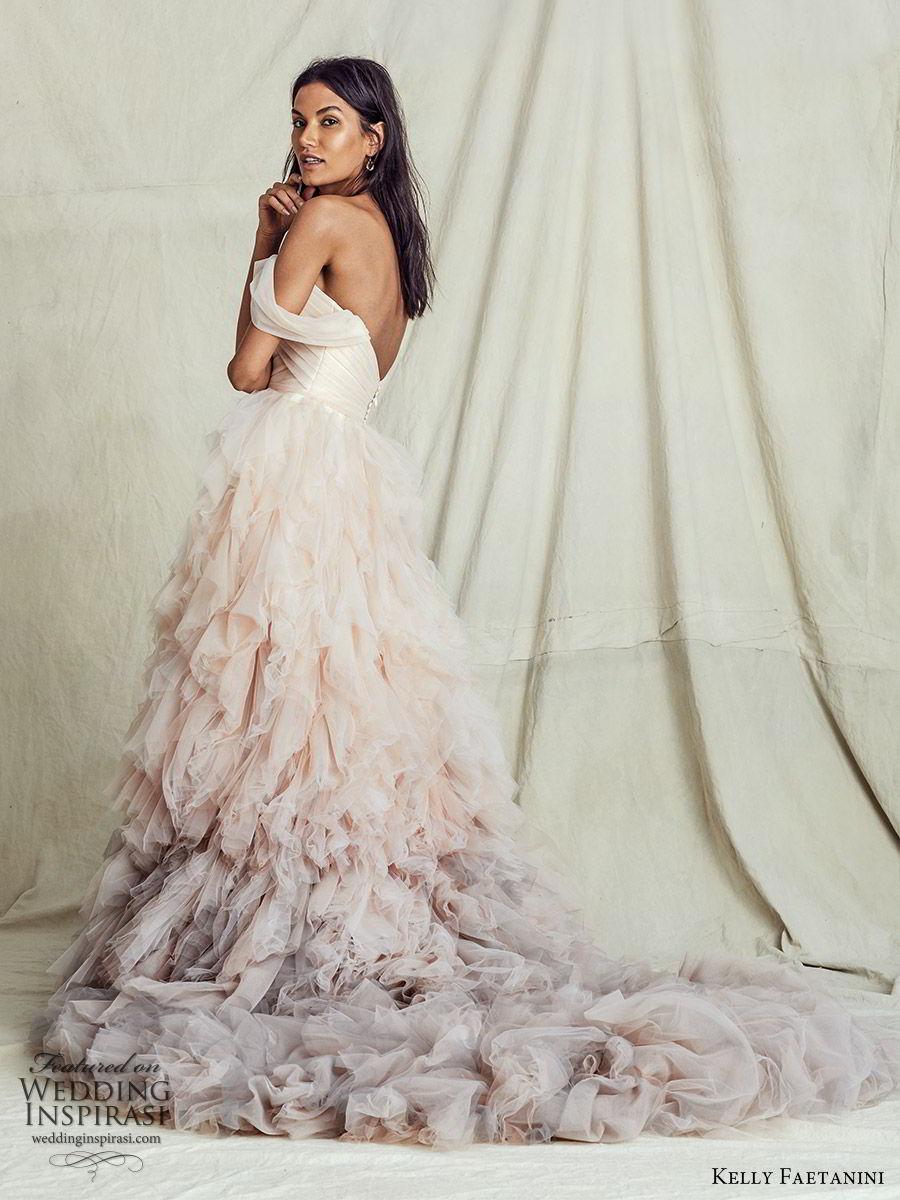 kelly faetanini fall 2019 bridal off shoulder semi sweetheart ruched bodice ball gown a line wedding dress ruffle skirt ombre blush chapel train romantic  (5) zv