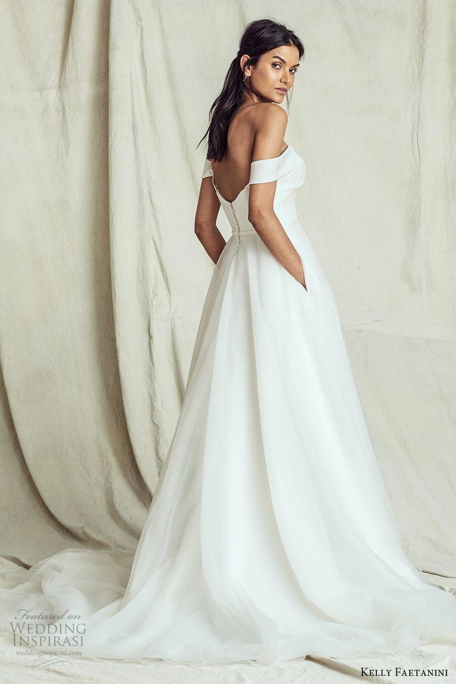 kelly faetanini fall 2019 bridal off shoulder straight across a line ball gown wedding dress pocket chapel train romantic elegant (14) bv