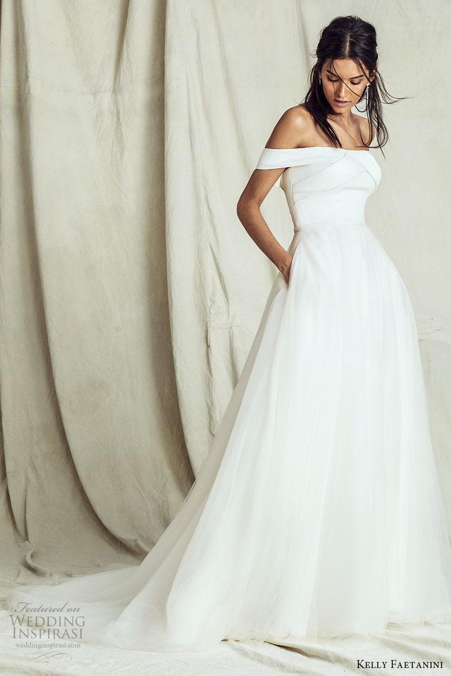 kelly faetanini fall 2019 bridal off shoulder straight across a line ball gown wedding dress pocket chapel train romantic elegant (14) mv