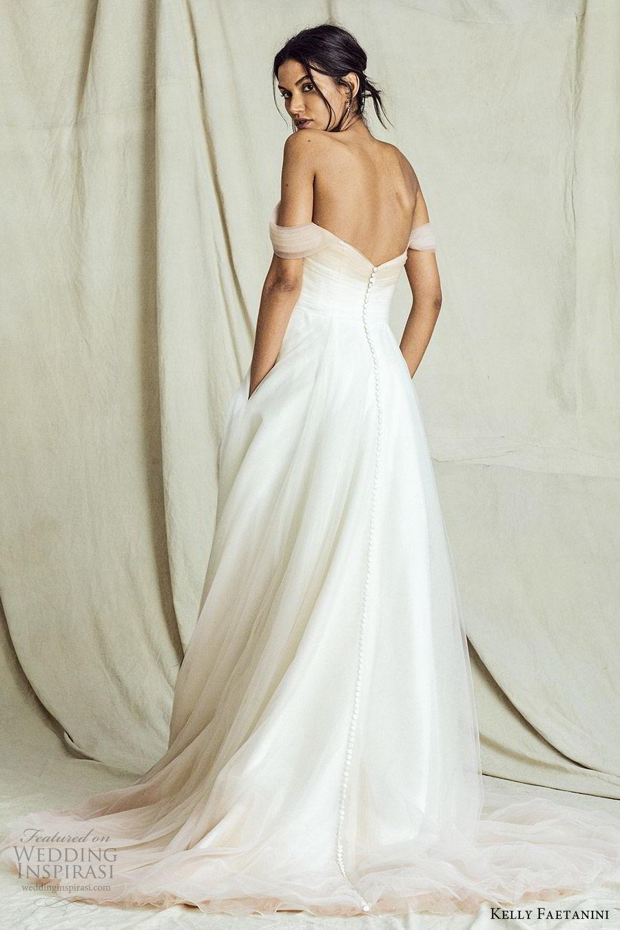 kelly faetanini fall 2019 bridal off shoulder straight across neckline ruched bodice a line ball gown wedding dress elegant romantic ombre blush chapel train (11) bv
