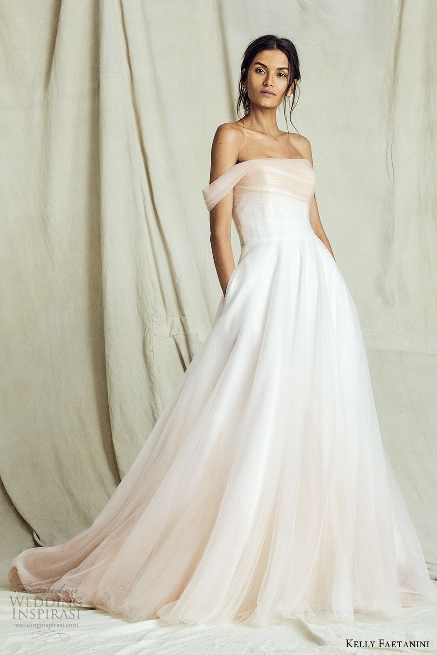 kelly faetanini fall 2019 bridal off shoulder straight across neckline ruched bodice a line ball gown wedding dress elegant romantic ombre blush chapel train (11) mv