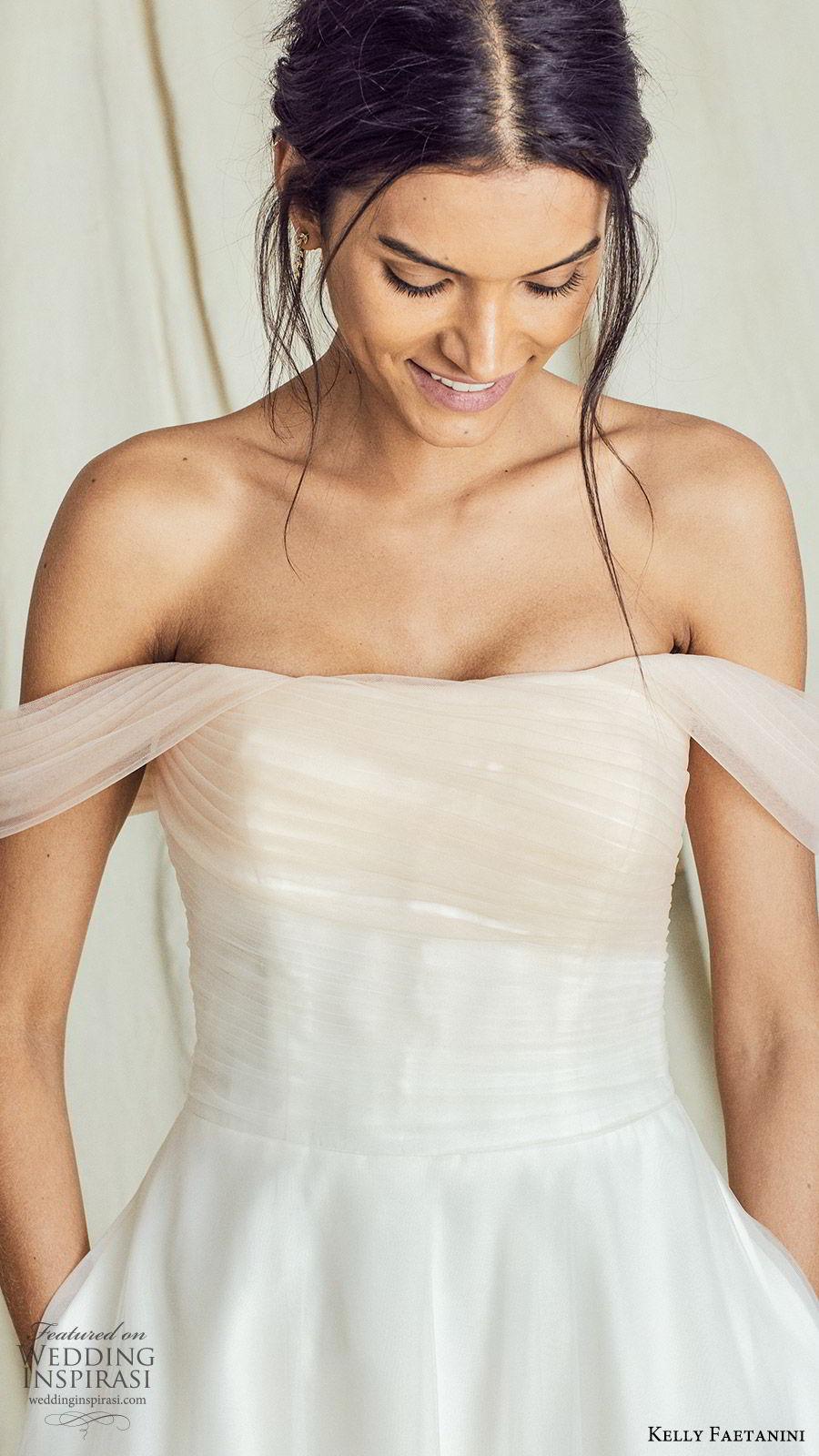 kelly faetanini fall 2019 bridal off shoulder straight across neckline ruched bodice a line ball gown wedding dress elegant romantic ombre blush chapel train (11) zv