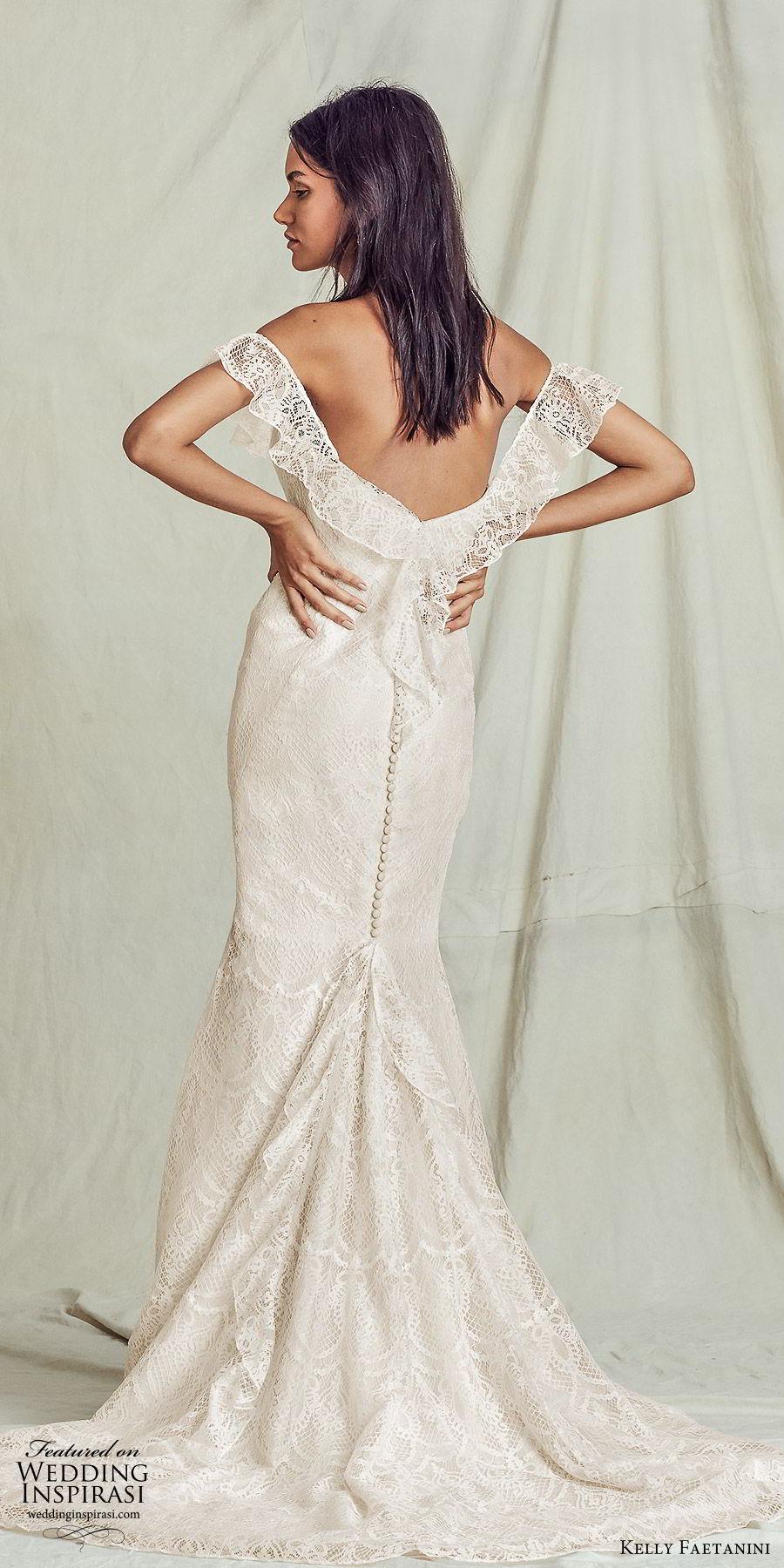 kelly faetanini fall 2019 bridal off shoulder sweetheart neckline sheath trumpet mermaid lace wedding dress elegant boho (8) bv