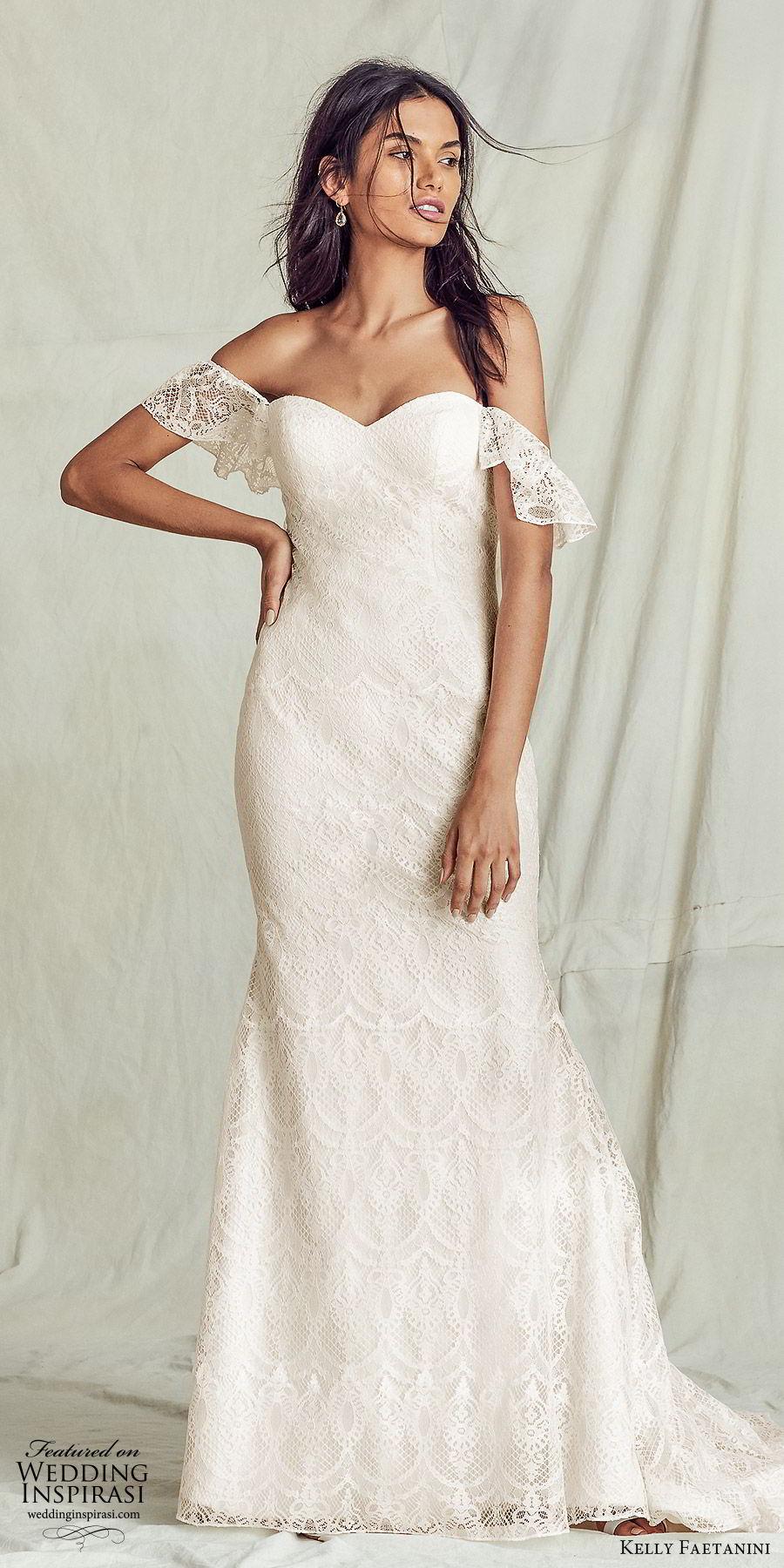 kelly faetanini fall 2019 bridal off shoulder sweetheart neckline sheath trumpet mermaid lace wedding dress elegant boho (8) mv