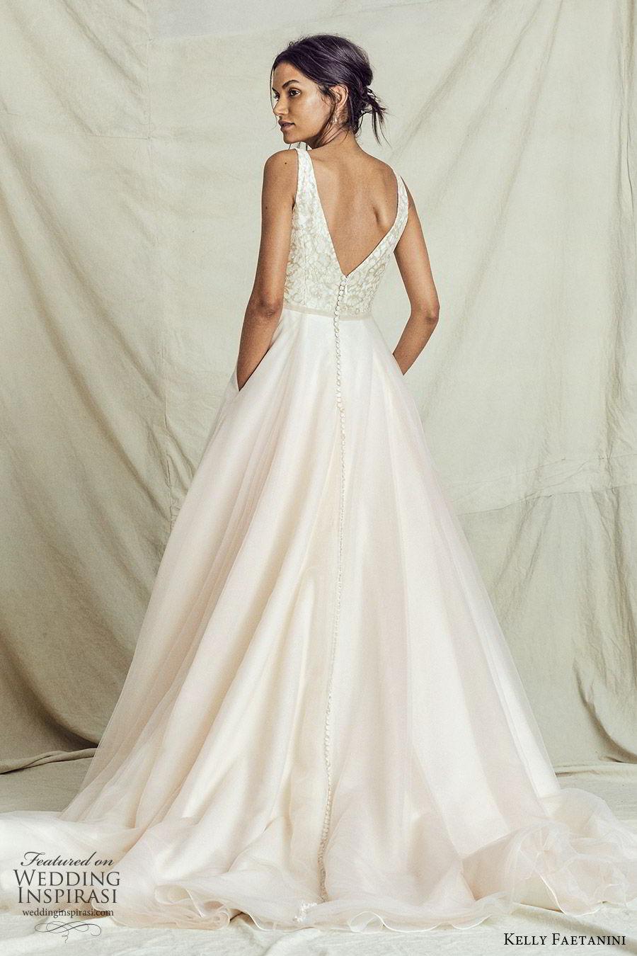 kelly faetanini fall 2019 bridal sleeveless thick straps plunging neckline lace bodice a line ball gown wedding dress vback chapel train romantic blush (9) bv