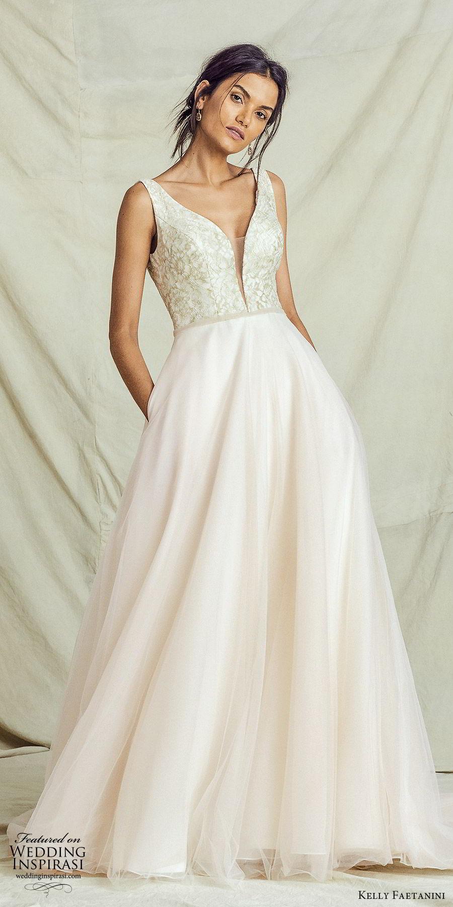 kelly faetanini fall 2019 bridal sleeveless thick straps plunging neckline lace bodice a line ball gown wedding dress vback chapel train romantic blush (9) mv