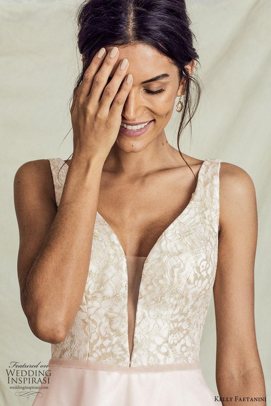 kelly faetanini fall 2019 bridal sleeveless thick straps plunging neckline lace bodice a line ball gown wedding dress vback chapel train romantic blush (9) zv