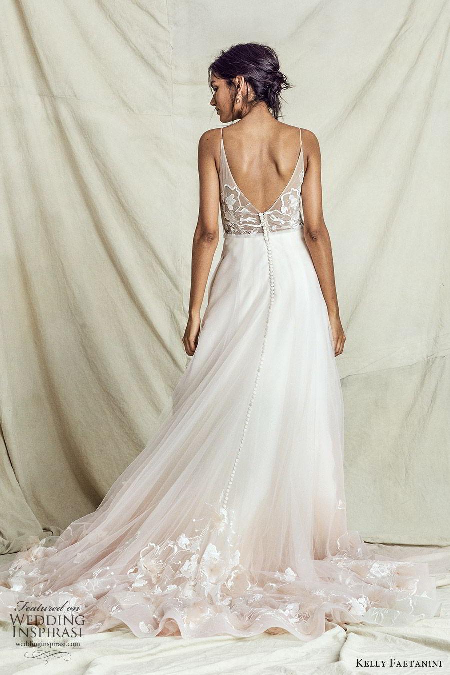 kelly faetanini fall 2019 bridal sleeveless thin straps sweetheart neckline embellished bodice a line ball gown wedding dress chapel train ombre blush romantic (6) bv