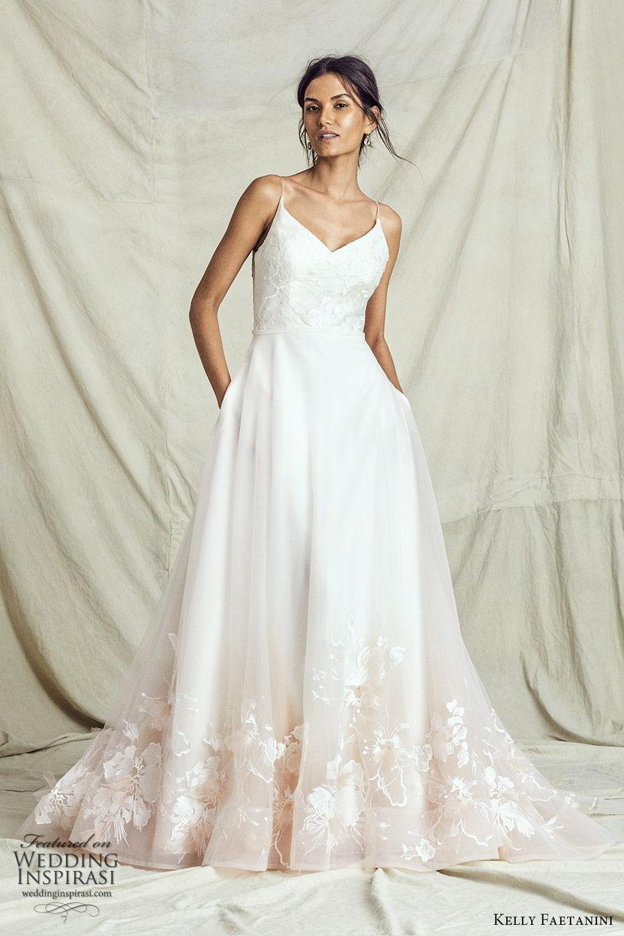 kelly faetanini fall 2019 bridal sleeveless thin straps sweetheart neckline embellished bodice a line ball gown wedding dress chapel train ombre blush romantic (6) mv