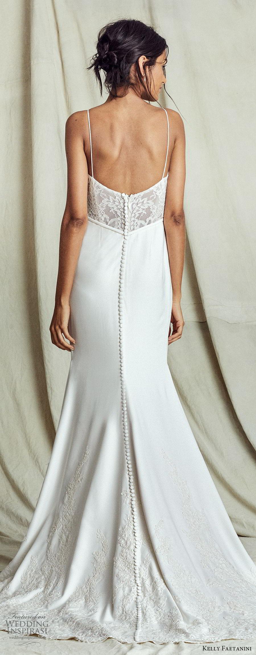 kelly faetanini fall 2019 bridal sleeveless thin straps sweetheart neckline lace bodice sheath trumpet mermaid wedding dress chapel train elegant (12) bv