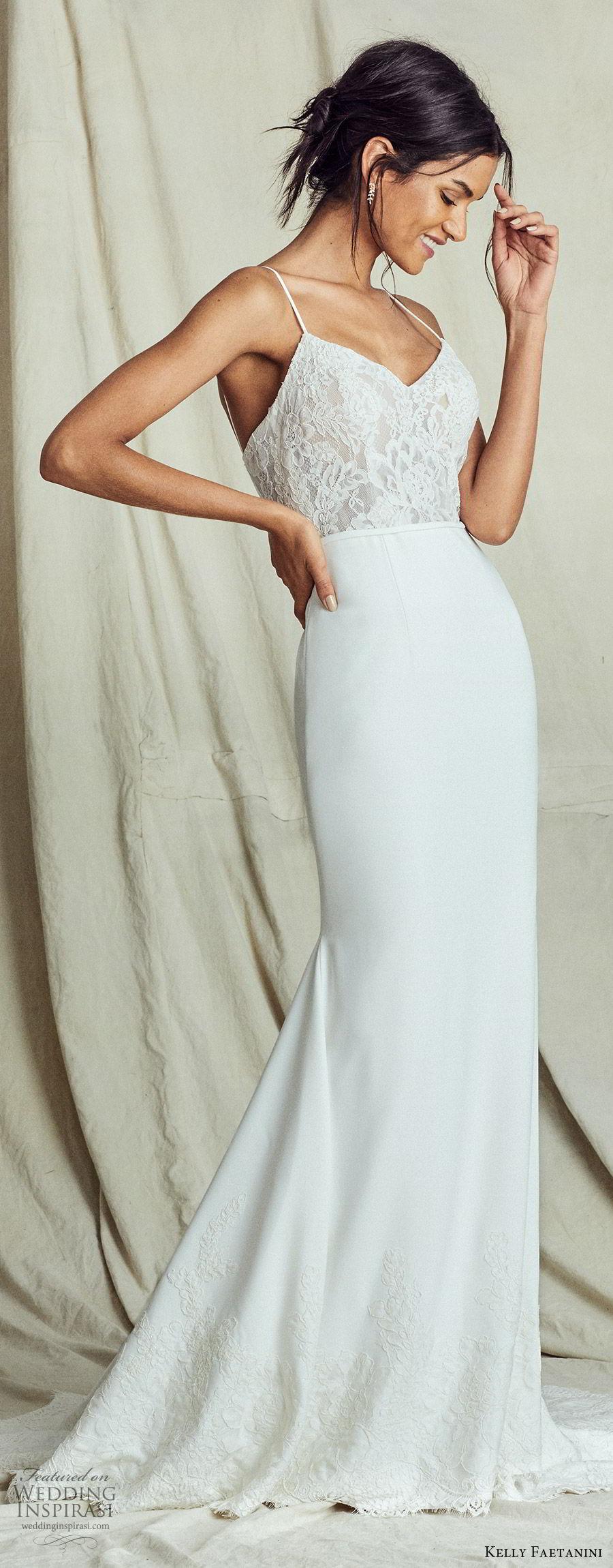 kelly faetanini fall 2019 bridal sleeveless thin straps sweetheart neckline lace bodice sheath trumpet mermaid wedding dress chapel train elegant (12) mv
