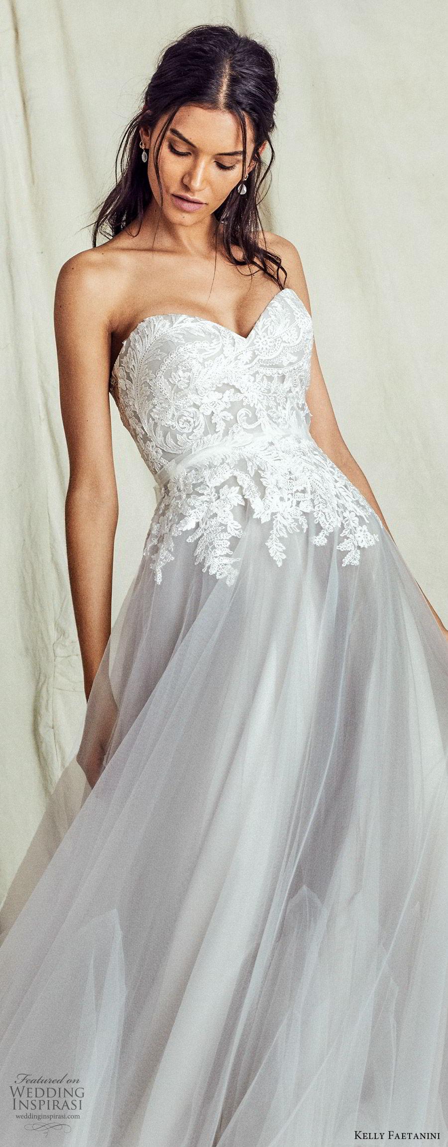 kelly faetanini fall 2019 bridal strapless sweetheart lace bodice a line ball gown wedding dress chapel train romantic elegant grey color (10) lv