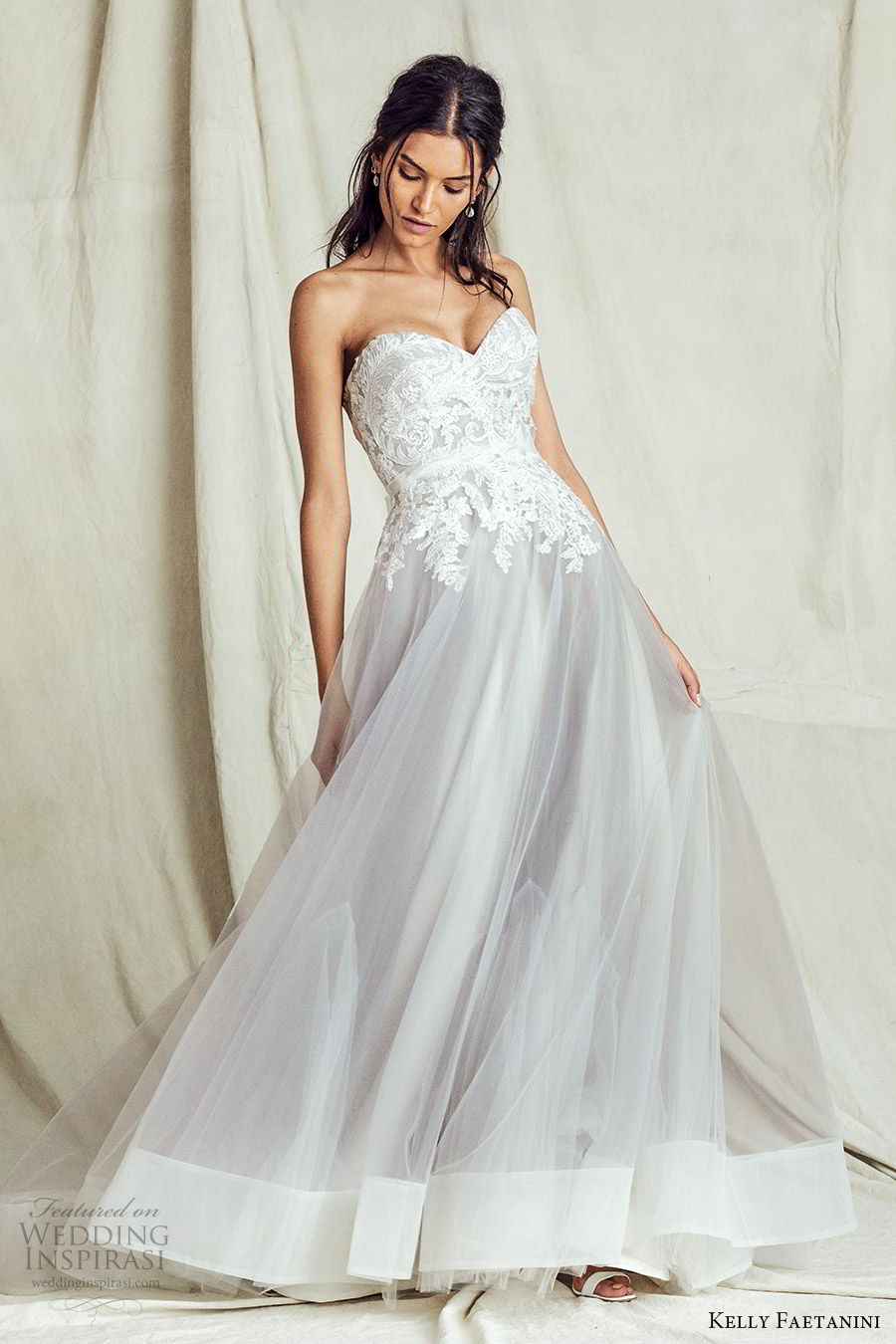 kelly faetanini fall 2019 bridal strapless sweetheart lace bodice a line ball gown wedding dress chapel train romantic elegant grey color (10) mv