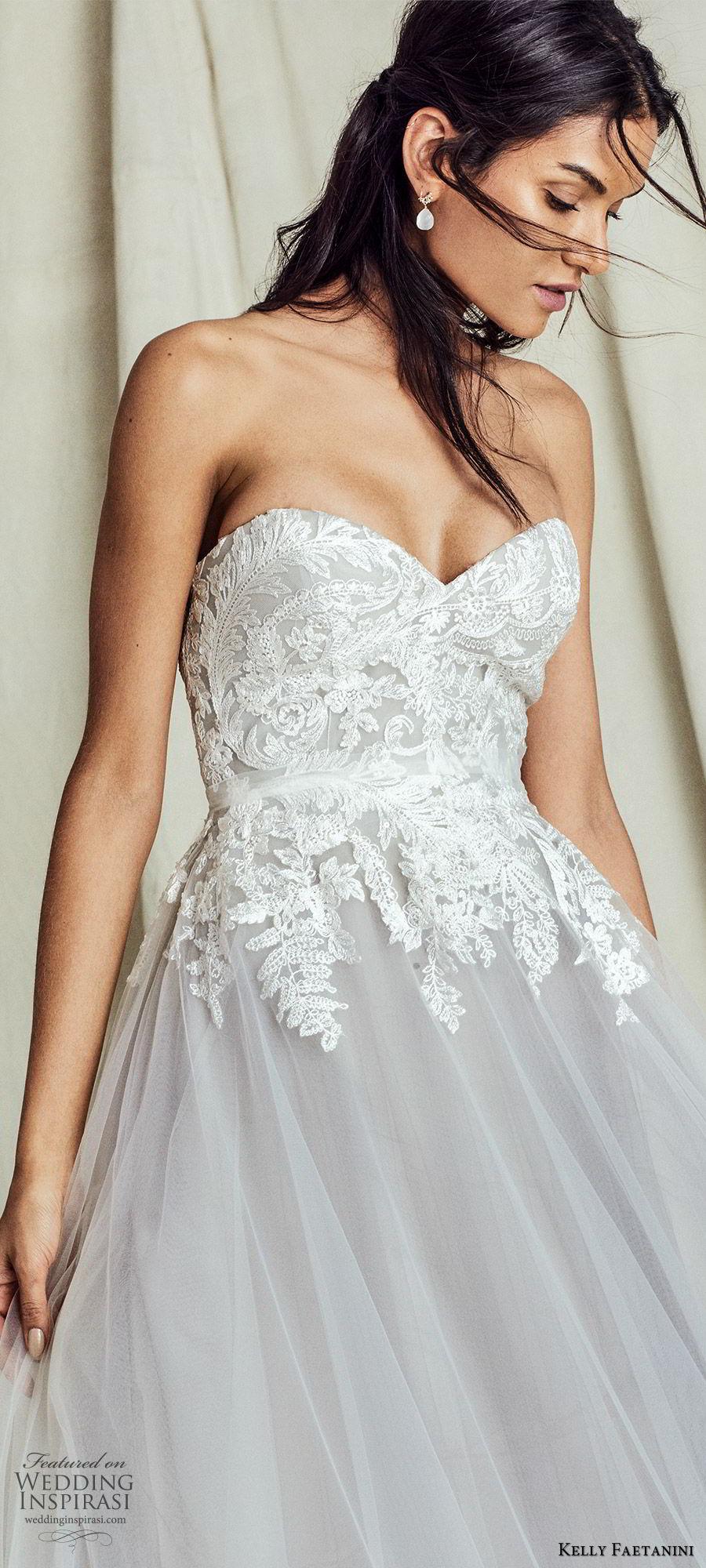 kelly faetanini fall 2019 bridal strapless sweetheart lace bodice a line ball gown wedding dress chapel train romantic elegant grey color (10) zv