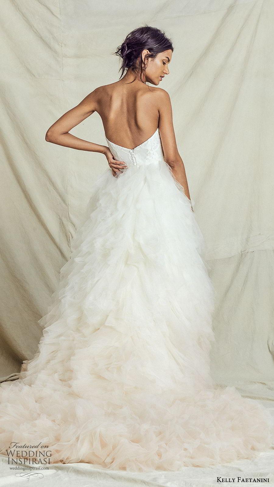 kelly faetanini fall 2019 bridal strapless sweetheart lace bodice a line ball gown wedding dress ruffle skirt ombre blush romantic elegant (7) bv
