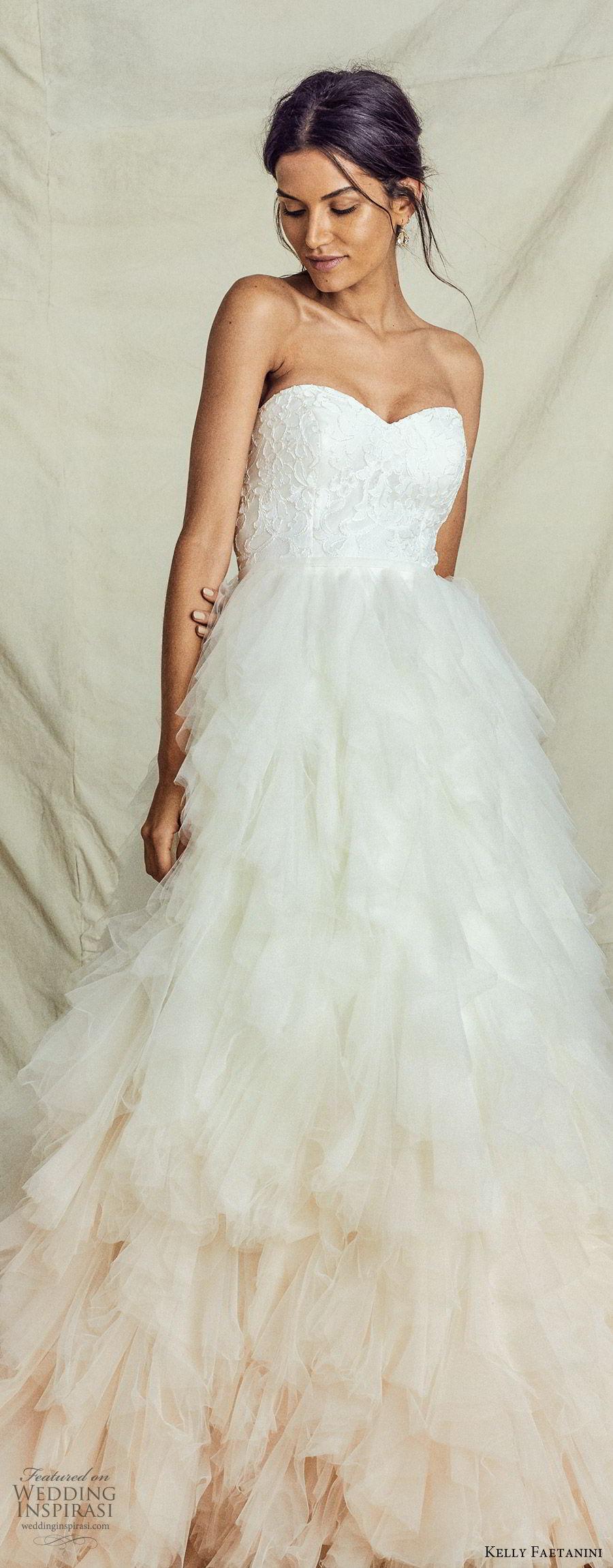 kelly faetanini fall 2019 bridal strapless sweetheart lace bodice a line ball gown wedding dress ruffle skirt ombre blush romantic elegant (7) lv