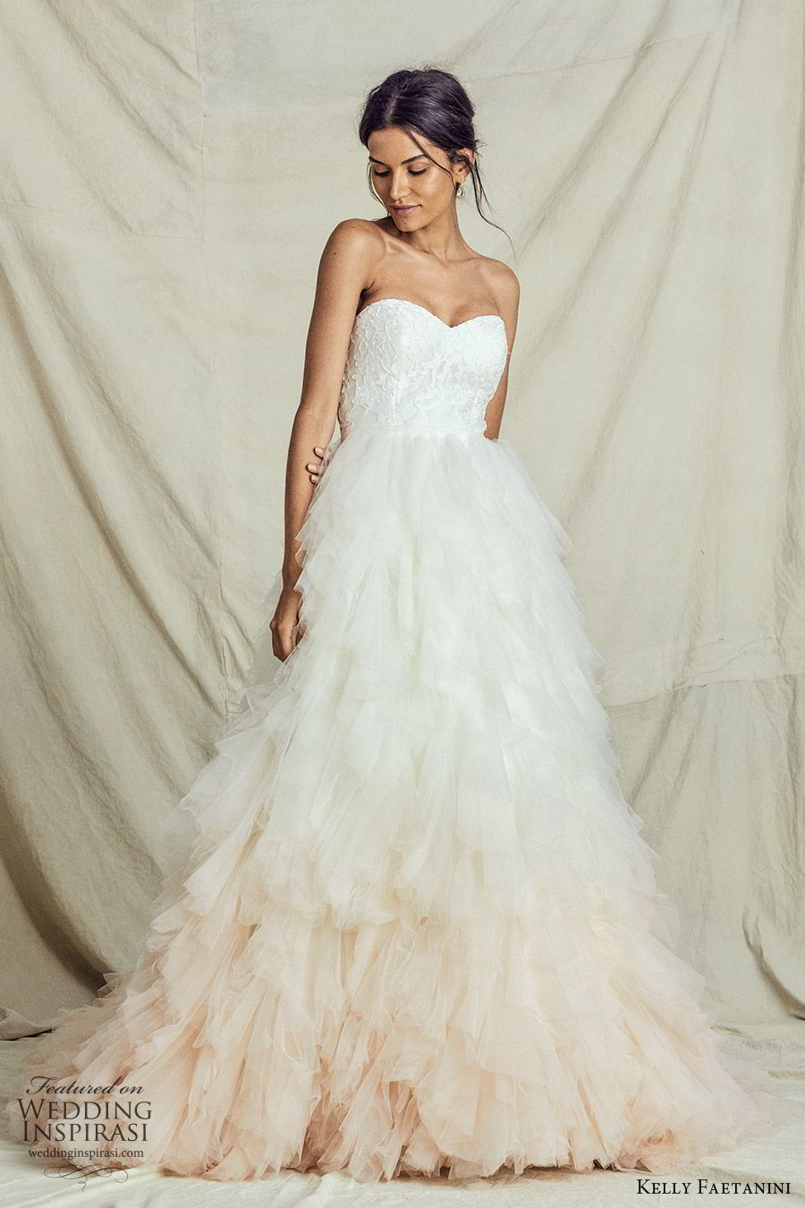 kelly faetanini fall 2019 bridal strapless sweetheart lace bodice a line ball gown wedding dress ruffle skirt ombre blush romantic elegant (7) mv