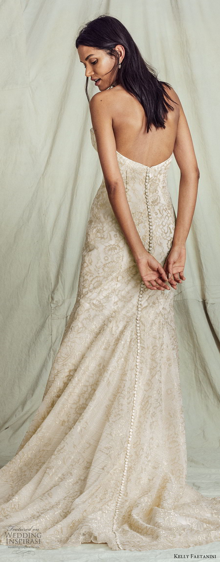 kelly faetanini fall 2019 bridal strapless sweetheart trumpet mermaid lace wedding dress chapel train gold color romantic elegant  (13) bv