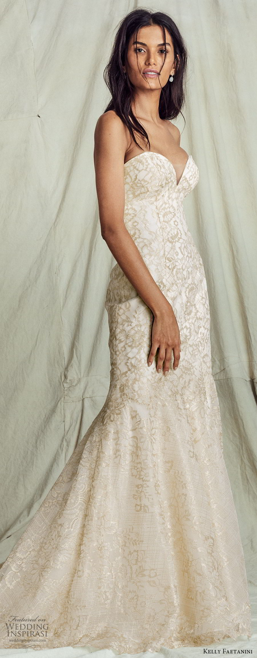kelly faetanini fall 2019 bridal strapless sweetheart trumpet mermaid lace wedding dress chapel train gold color romantic elegant  (13) mv