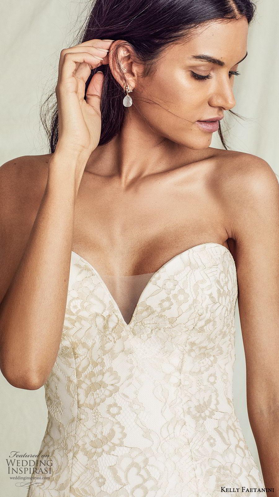 kelly faetanini fall 2019 bridal strapless sweetheart trumpet mermaid lace wedding dress chapel train gold color romantic elegant  (13) zv