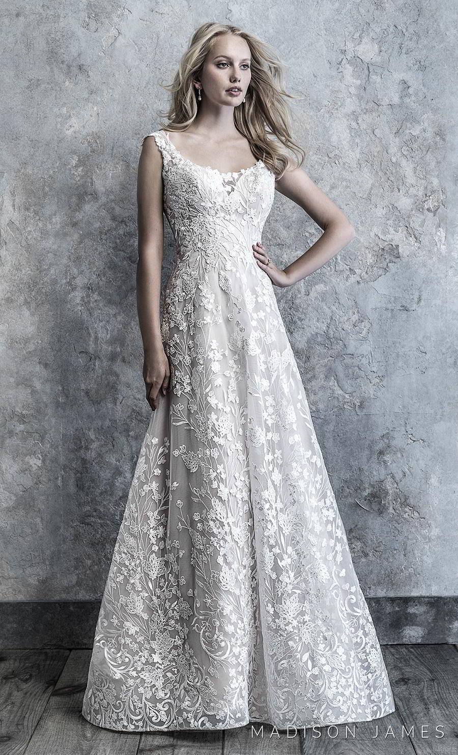 madison james 2019 bridal cap sleeves scoop neckline full embellishment romantic a line wedding dress backless scoop back chapel train (519) mv