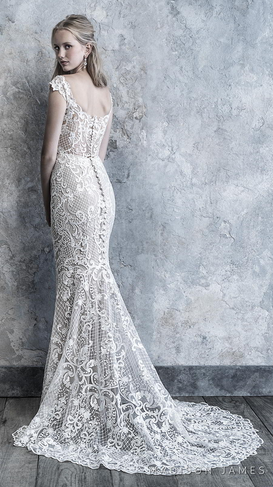 madison james 2019 bridal cap sleeves semi square scoop neckline full embellishment elegant fit and flare wedding dress semi back chapel train (517) bv