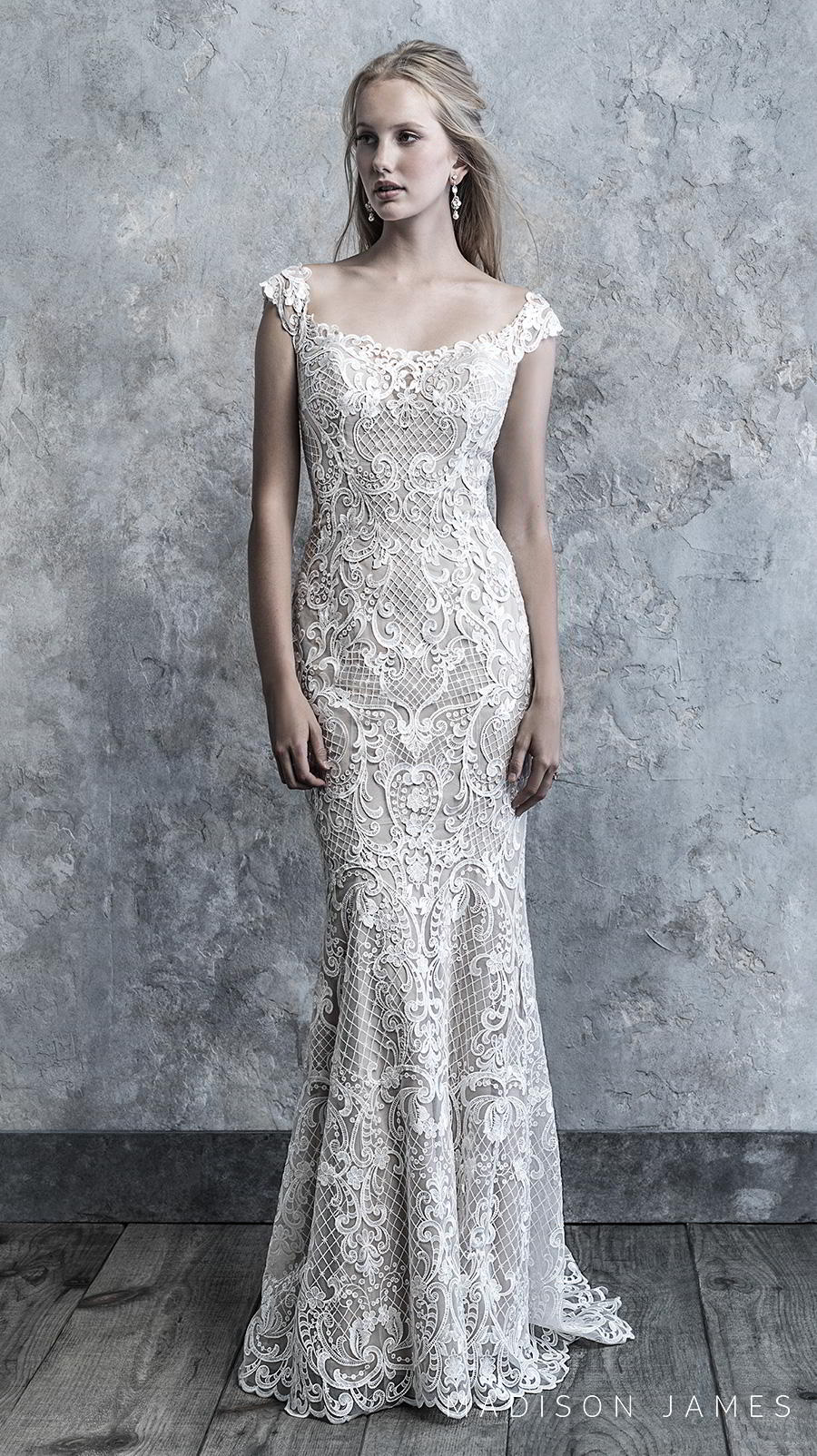 madison james 2019 bridal cap sleeves semi square scoop neckline full embellishment elegant fit and flare wedding dress semi back chapel train (517) mv