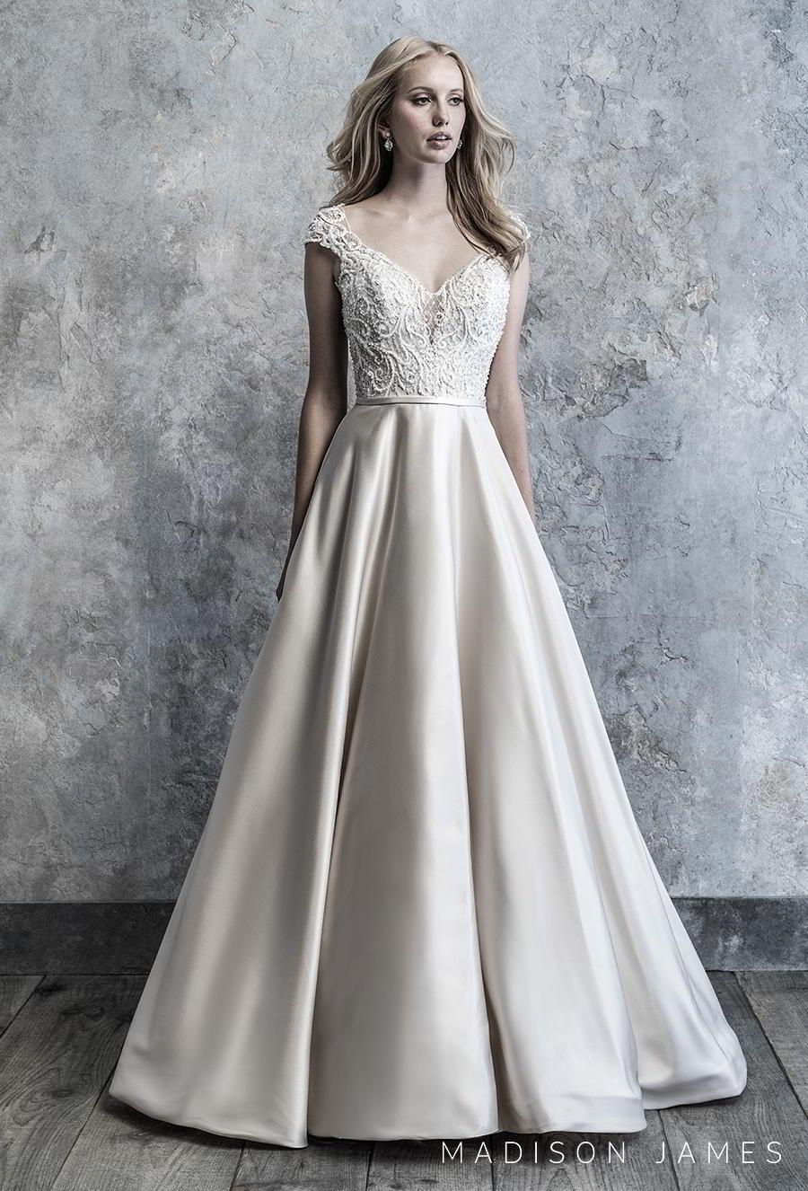 madison james 2019 bridal cap sleeves v neck heavily embellished bodice satin skirt romantic a line wedding dress v back chapel train (506) mv