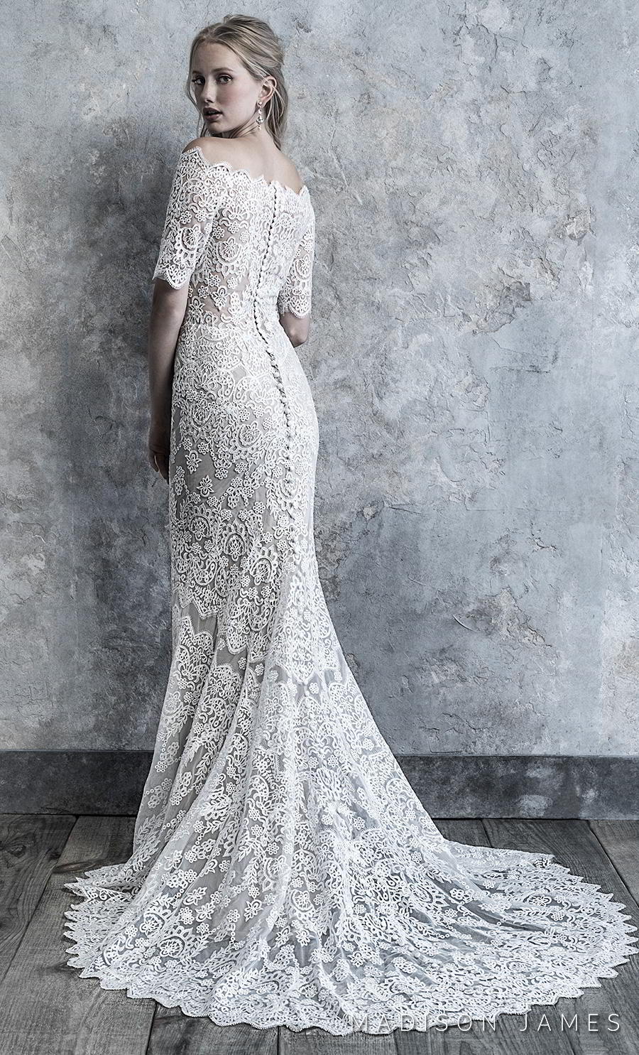 madison james 2019 bridal half sleeves off the shoulder straight across neckline full embellishment elegant fit and flare sheath wedding dress covered back chapel train (515) bv