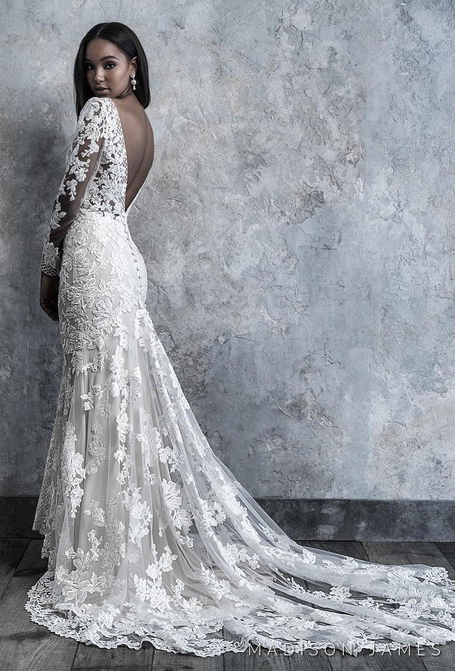 madison james 2019 bridal long sleeves v neck full embellishment elegant drop waist a line wedding dress backless low v back chapel train (511) bv