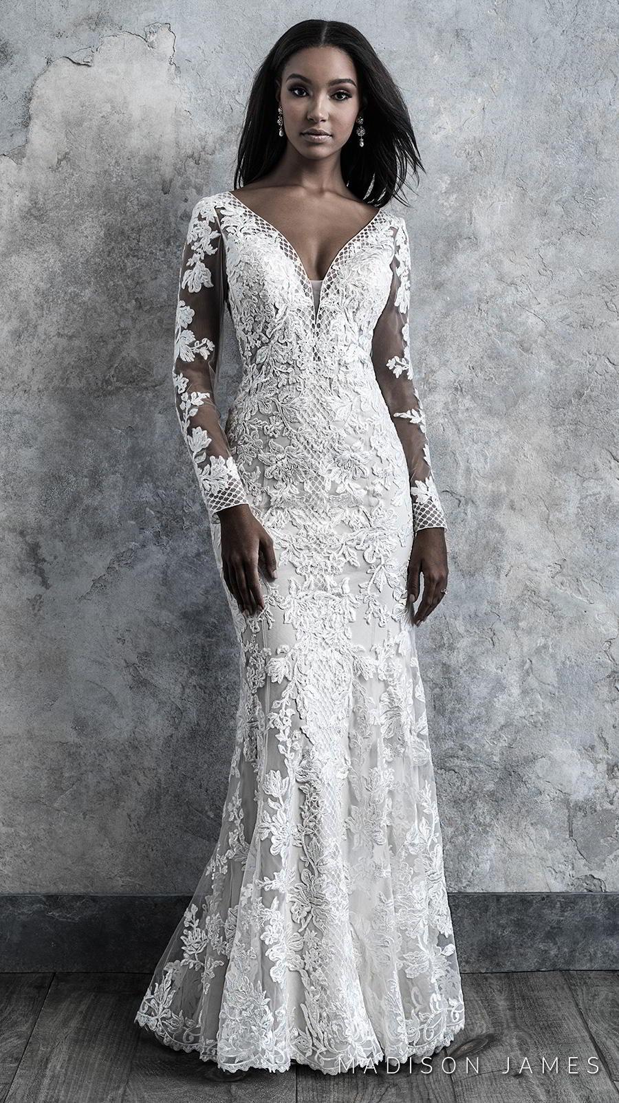 madison james 2019 bridal long sleeves v neck full embellishment elegant drop waist a line wedding dress backless low v back chapel train (511) mv