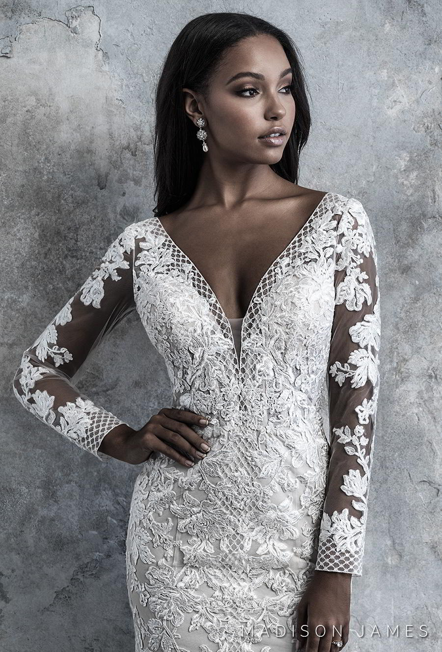 madison james 2019 bridal long sleeves v neck full embellishment elegant drop waist a line wedding dress backless low v back chapel train (511) zv