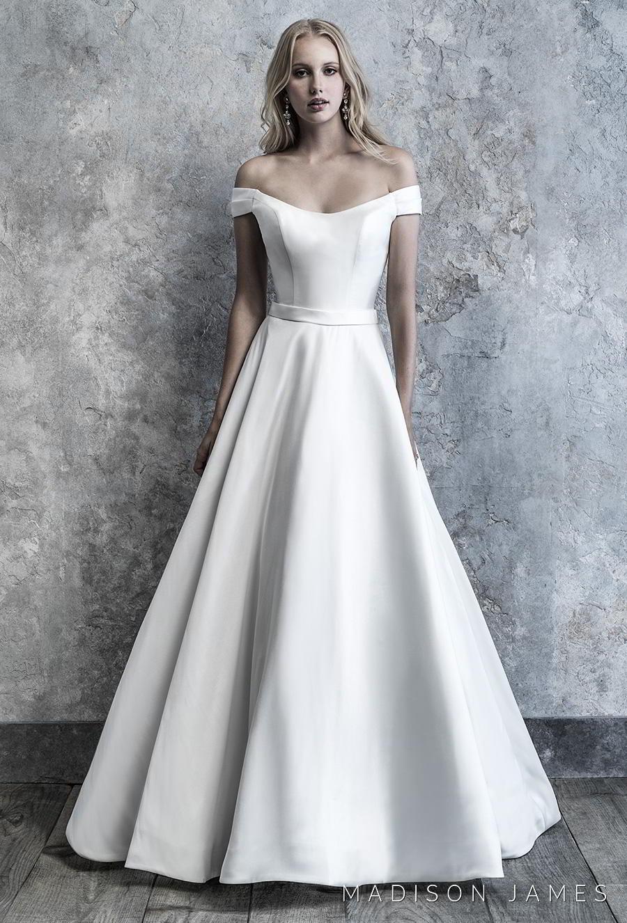 madison james 2019 bridal off the shoulder semi scoop neckline simple minimalist elegant princess a line wedding dress mid back chapel train (513) mv