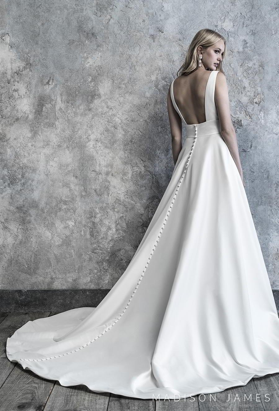 madison james 2019 bridal sleeveless deep v neck simple minimalist elegant a line wedding dress backless square back chapel train (501) bv