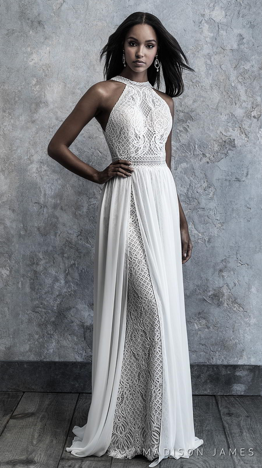 madison james 2019 bridal sleeveless halter neck full embellishment elegant grecian sheath wedding dress a line overskirt covered lace back chapel train (512) mv