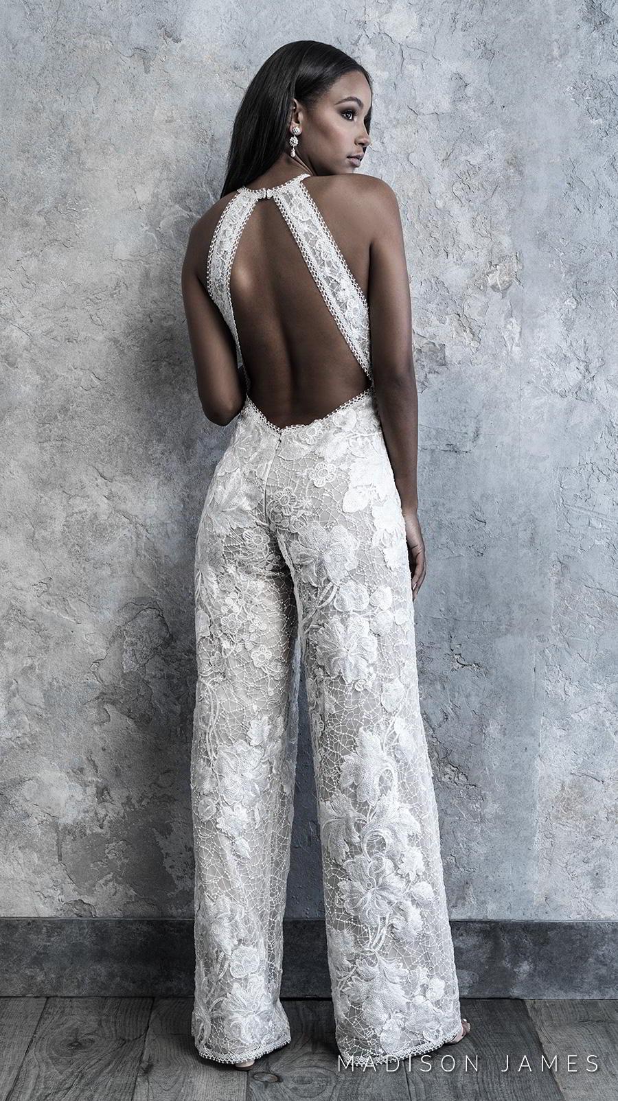 madison james 2019 bridal sleeveless halter neck full embellishment modern sophiscated jumpsuit wedding dress low keyhole back (500) bv
