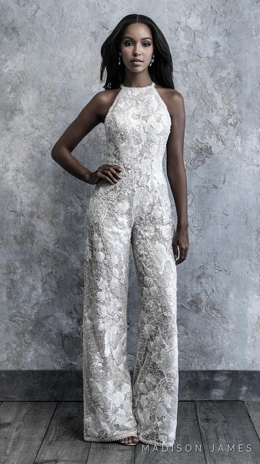 madison james 2019 bridal sleeveless halter neck full embellishment modern sophiscated jumpsuit wedding dress low keyhole back (500) mv
