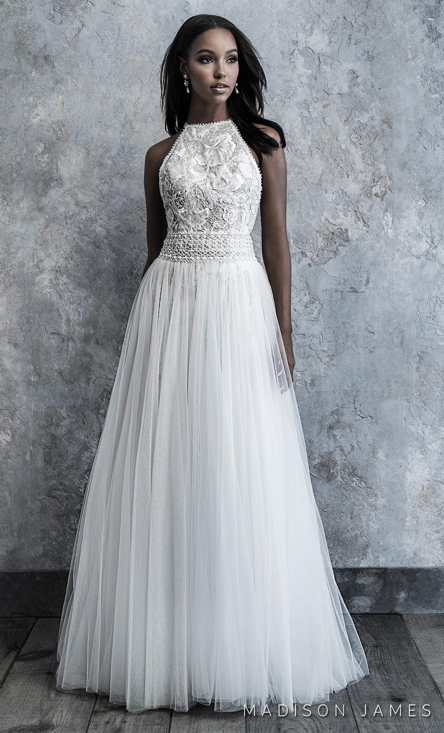 madison james 2019 bridal sleeveless halter neck heavily embellished bodice pleated skirt romantic soft a line wedding dress keyhole back chapel train (500) mv