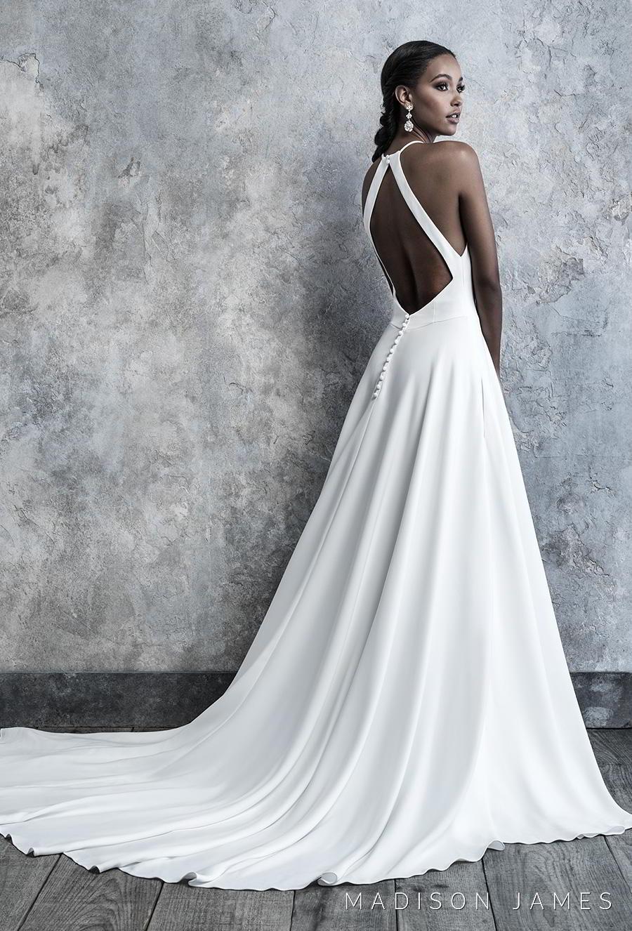 madison james 2019 bridal sleeveless halter neck simple minimalist elegant classy a line wedding dress keyhole back chapel train (518) bv