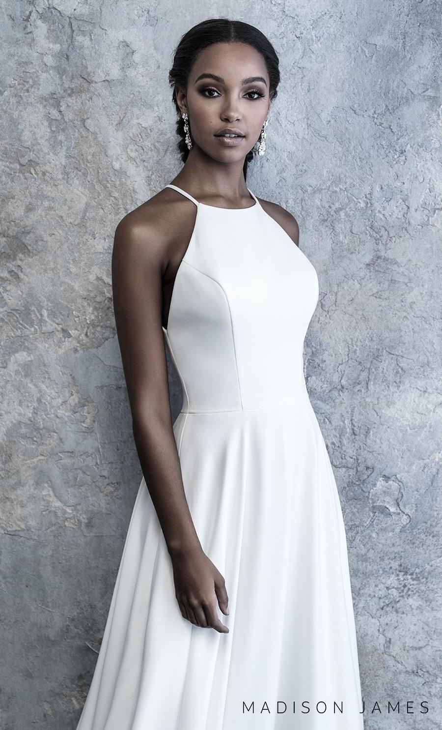 madison james 2019 bridal sleeveless halter neck simple minimalist elegant classy a line wedding dress keyhole back chapel train (518) zv