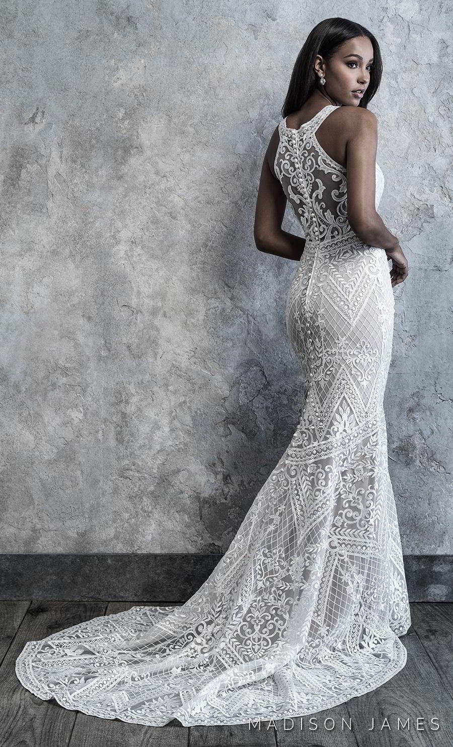 madison james 2019 bridal sleeveless jewel neckline full embellishment elegant sheath wedding dress covered lace back chapel train (507) bv