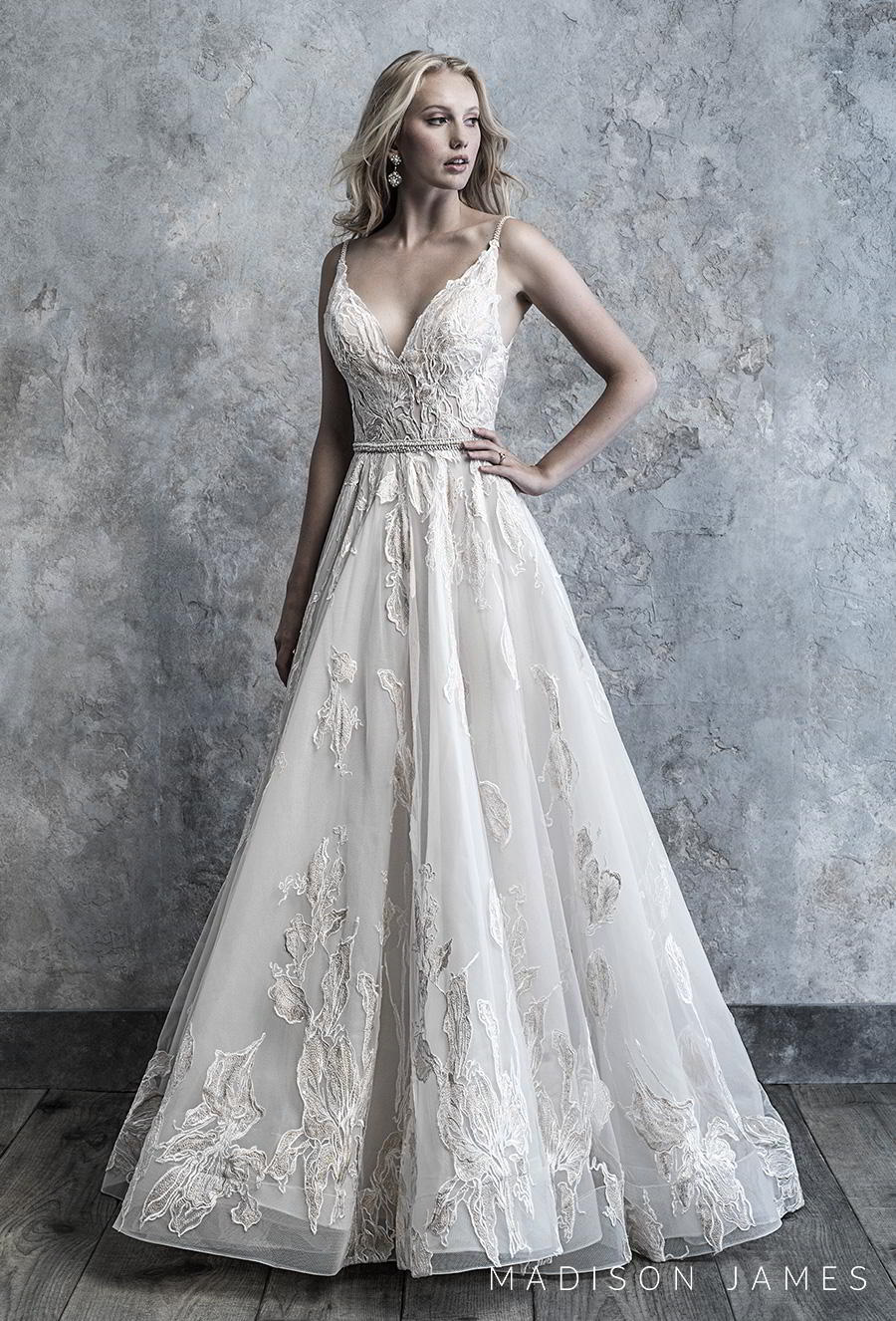 madison james 2019 bridal sleeveless spaghetti strap v neck full embellishment romantic a line wedding dress backless chapel train (503) mv