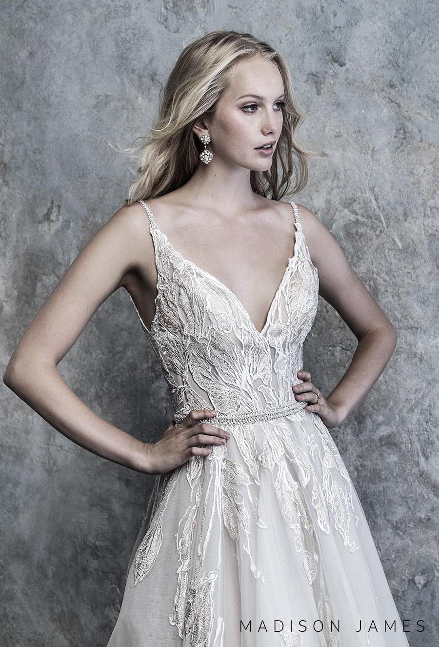 madison james 2019 bridal sleeveless spaghetti strap v neck full embellishment romantic a line wedding dress backless chapel train (503) zv