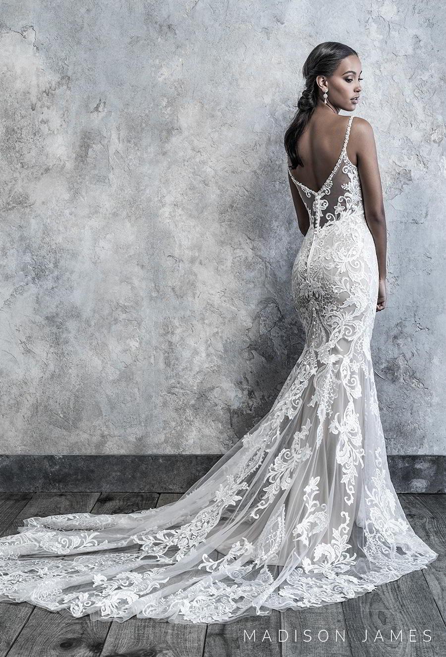madison james 2019 bridal sleeveless thin strap diamond neck full embellishment elegant drop waist a line wedding dress v back chapel train (520) bv